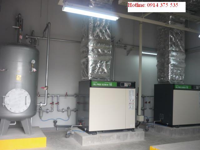 Lắp đặt hệ thống máy nén khí trục vít không dầu